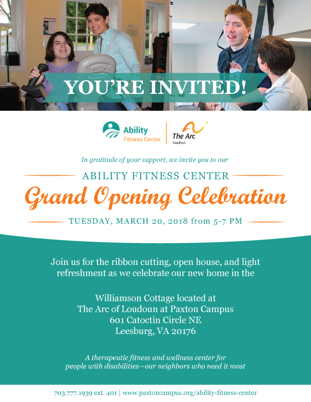 Ability Fitness Center Grand Opening at The Arc of Loudoun at Paxton Campus March 20